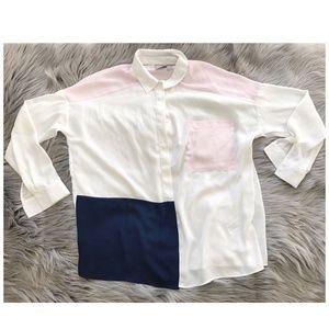 ASOS oversized colour block long sleeve shirt, SZ4